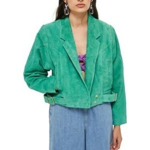 TOPSHOP Hawkes leather Suede Jacket GREEN - GOLD